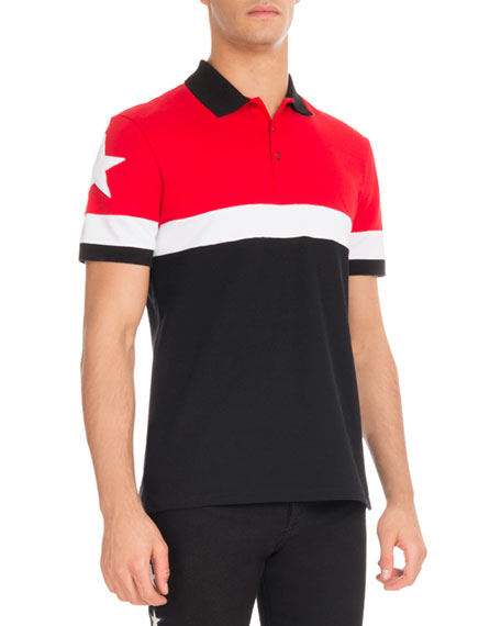 dfa52f46 Givenchy Cuban-Fit Colorblock Polo Shirt, Red/White/Black | Neiman Marcus