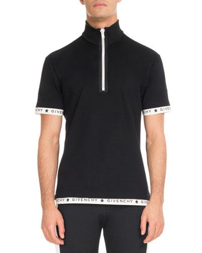 Logo-Trim Zip-Front Polo Shirt, Black