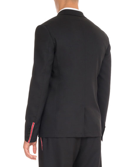 Wool Suit Jacket with Star Taping, Black