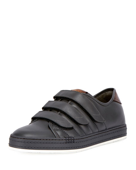 Playtime Leather Three-Strap Sneaker, Gray