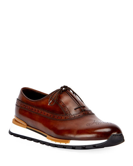 Berluti Fast Track Leather Brogue Sneaker, Brown/Yellow