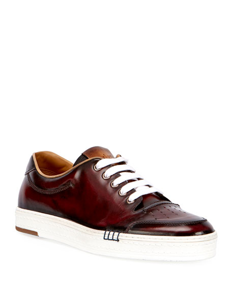 Berluti Calf Leather Tennis Shoe, Red