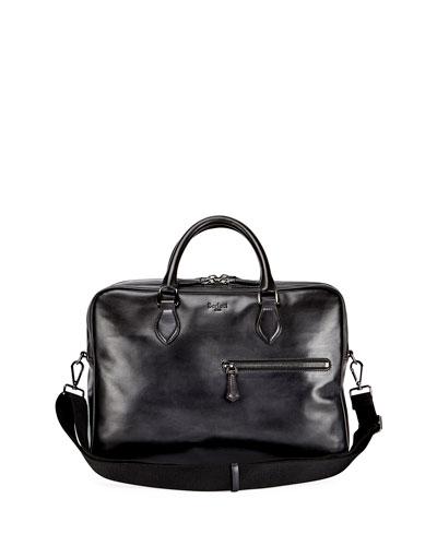 Deux Jours Calf Leather Briefcase, Nero Grigio