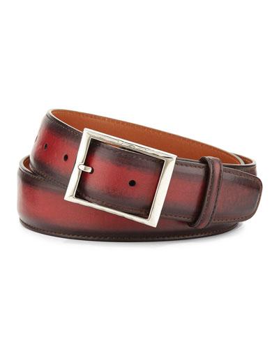 Venezia Leather Belt  Red