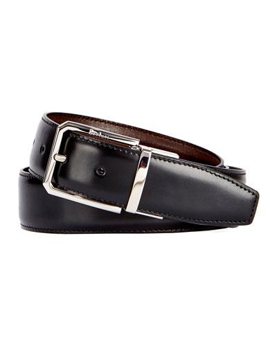 Versatile 35mm Reversible Leather Belt  Black Knight/Tobacco Bis
