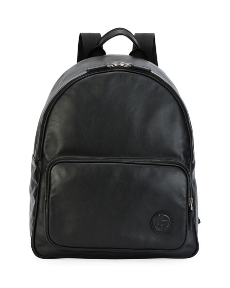 Smooth Leather Backpack, Black