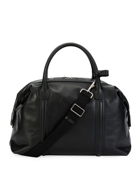 Giorgio Armani Leather Weekender Bag, Black