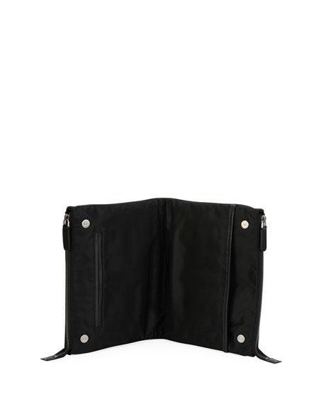 Leather Folding Tech Pouch, Black