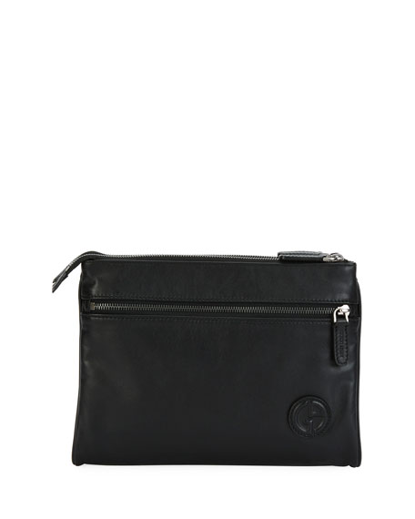 Giorgio Armani Leather Folding Tech Pouch, Black