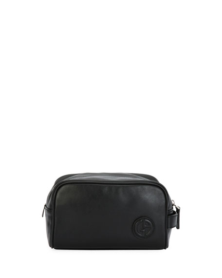 Leather Toiletry Travel Case, Black