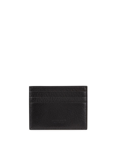 Giorgio Armani Leather Card Case, Black
