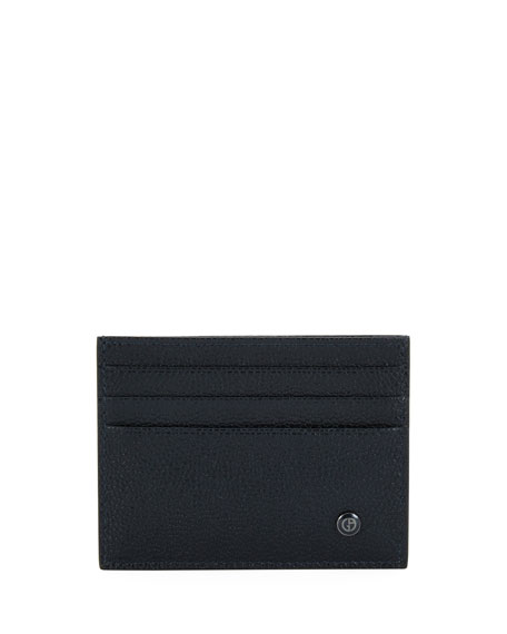 Giorgio Armani Leather Card Case, Blue