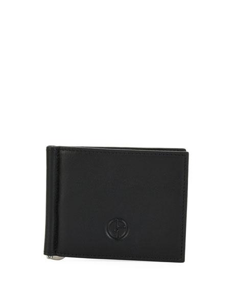 Giorgio Armani Leather Card Case with Money Clip,