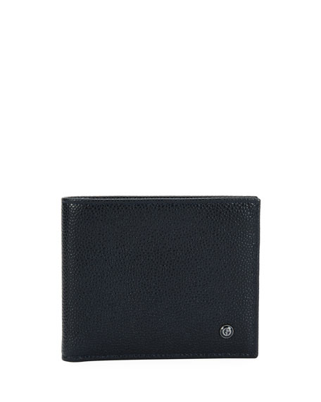 Giorgio Armani Leather Bi-Fold Wallet, Blue