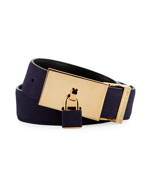 Buscemi 100mm Padlock-Buckle Nubuck Belt, Blue Ink and