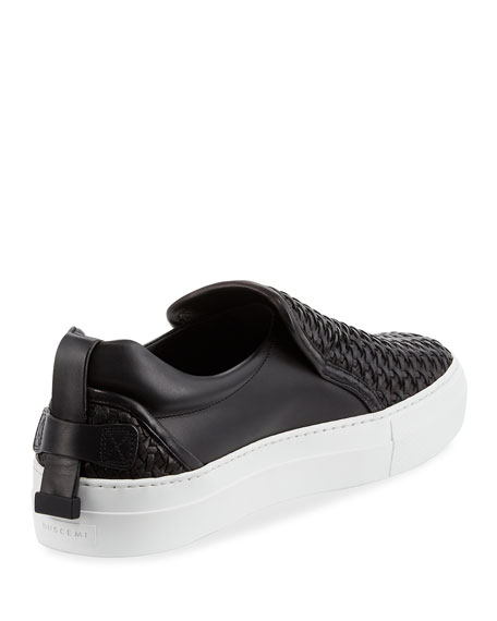 40mm Men's Woven Leather Slip-On Sneaker, Black