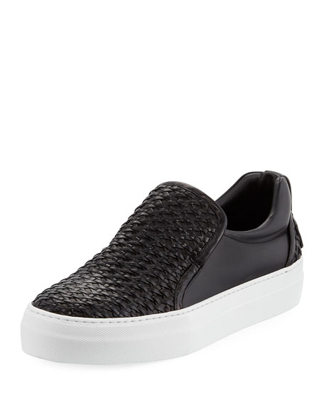 Buscemi 40mm Men's Woven Leather Slip-On Sneakers, Black