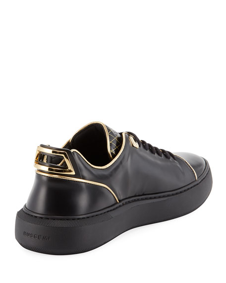 Men's Uno Leather Low-Top Sneakers with Golden Edges, Black