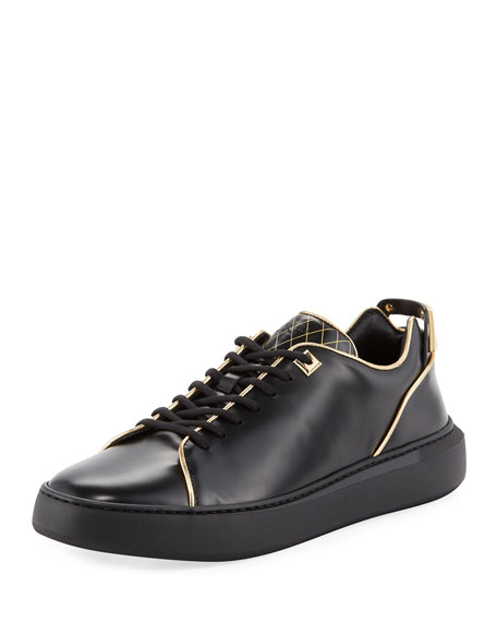 Uno Leather Low-Top Sneaker with Golden Edges, Black