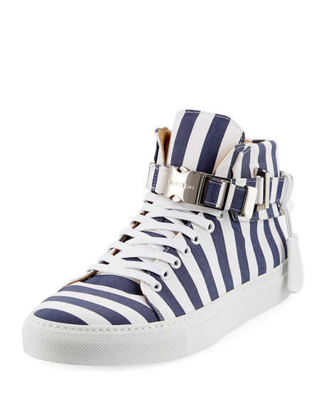 Buscemi Men's 100mm Striped Canvas High-Top Sneaker, Blue
