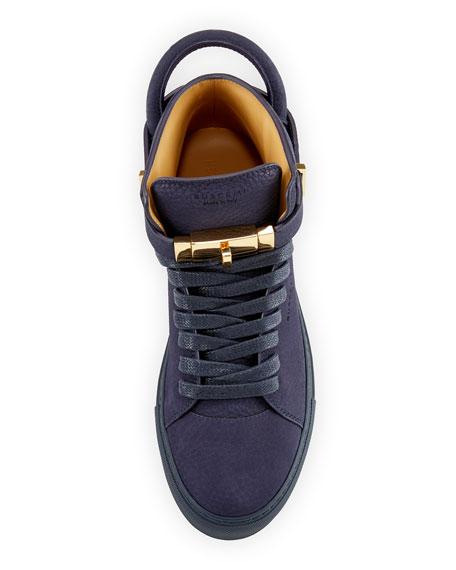 100mm Men's Nubuck Leather High-Top Sneakers, Blue Ink