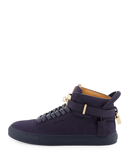 100mm Men's Nubuck Leather High-Top Sneakers, Blue Ink