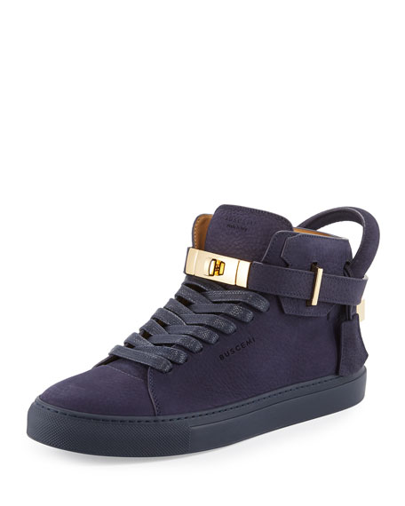 Buscemi 100mm Men's Nubuck Leather High-Top Sneakers, Blue