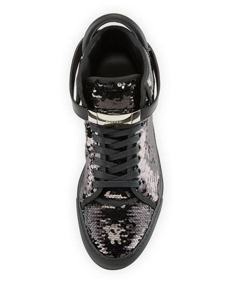 Men's 100mm Sequined High-Top Sneaker, Black