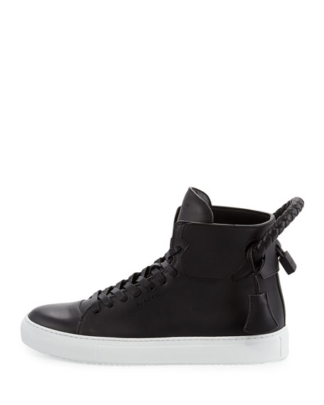 Men's 125mm Leather High-Top Sneakers, Black