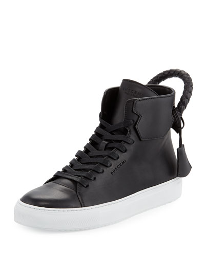 Buscemi Men's 125mm Leather High-Top Sneaker, Black