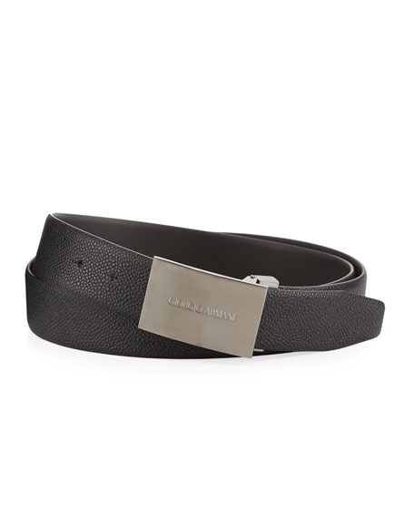 Giorgio Armani Caviar Leather Belt, Slate