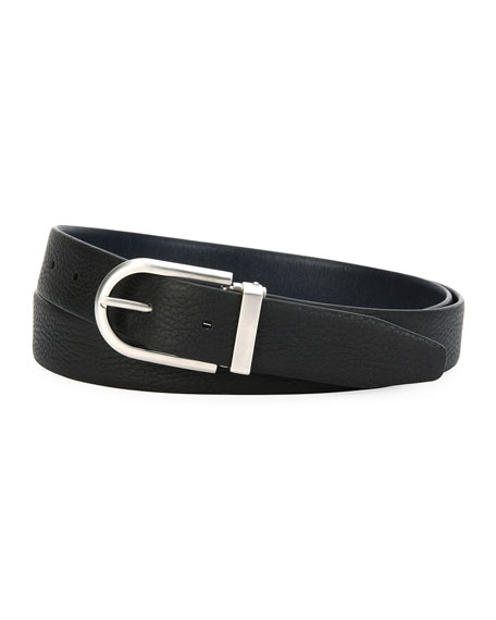 Giorgio Armani Reversible Calf Leather Belt, Black