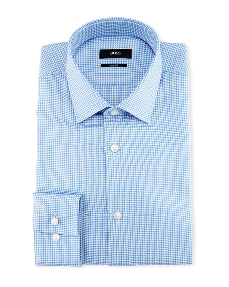 Slim-Fit Houndstooth Dress Shirt, Light Blue
