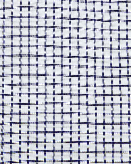 Slim-Fit Tattersall Dress Shirt, Navy/White