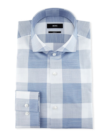 Enlarged-Check Slim-Fit Dress Shirt, Blue/White