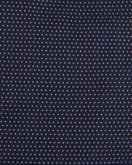 Slim-Fit Dotted Cotton Dress Shirt, Navy