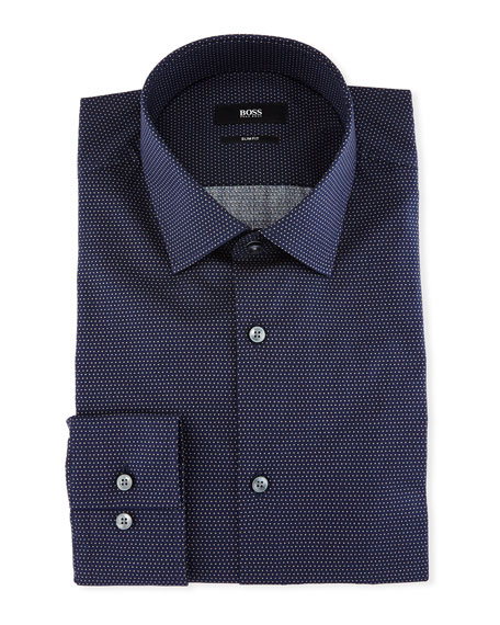BOSS Slim-Fit Dotted Cotton Dress Shirt, Navy