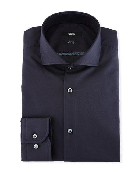 BOSS Slim-Fit Easy-Iron Dress Shirt, Navy