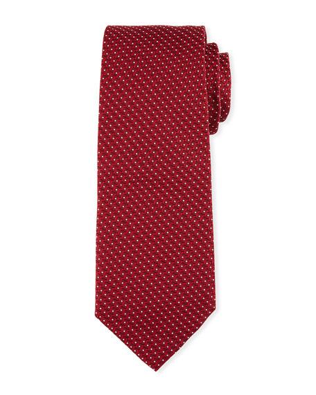 Textured Dot Silk Tie, Red