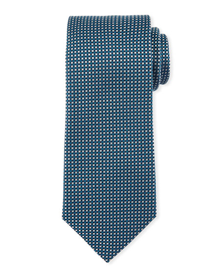 Textured Micro-Square Silk Tie, Teal