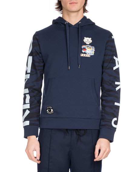 Kenzo Tiger Icon Badges Hooded Sweatshirt, Blue
