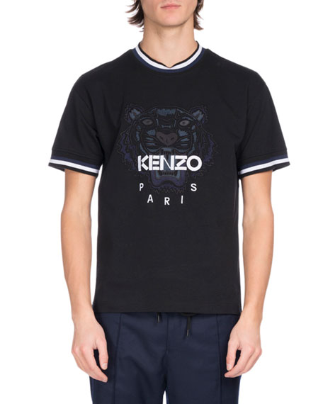 Kenzo Urban Stripe Tiger Logo T-Shirt, Black