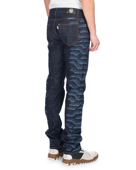 Tiger-Print Straight-Leg Jeans, Navy
