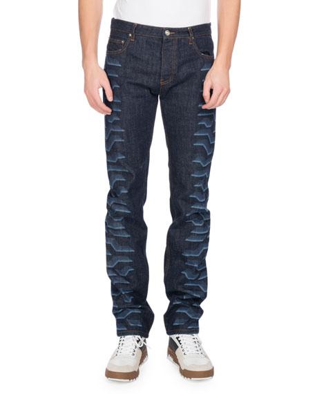 Kenzo Tiger-Print Straight-Leg Jeans, Navy