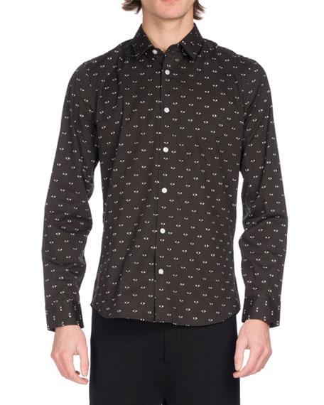 Eye Icon Slim-Fit Stretch Cotton Shirt, Black