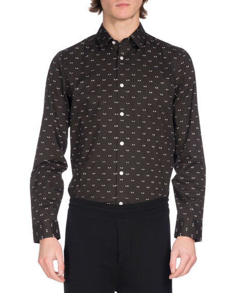 Kenzo Eye Icon Slim-Fit Stretch Cotton Shirt, Black