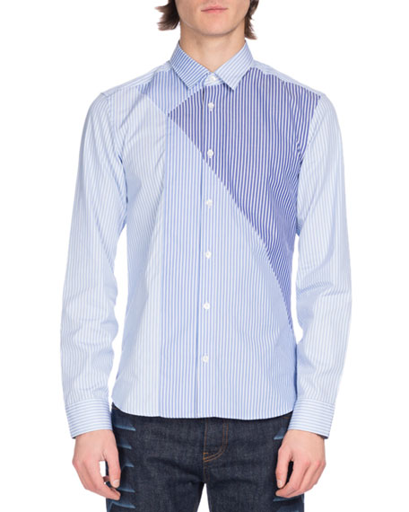 Kenzo Pieced-Stripe Cotton Shirt, Light Blue