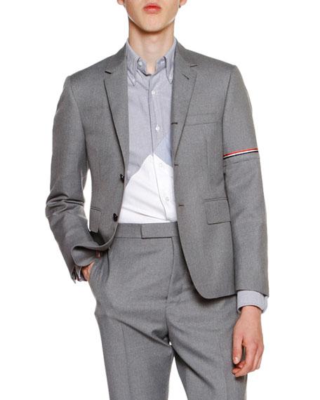Thom Browne Classic Twill Jacket w/Arm Stripe, Medium