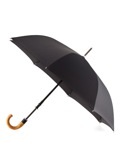 Stratus Chrome 70000 Umbrella with Wooden Handle, Black