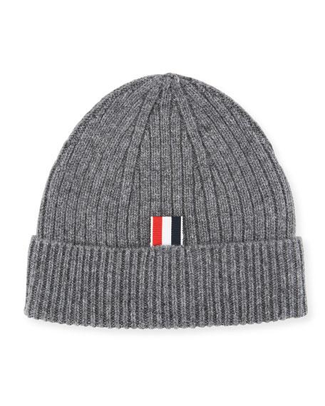 Cashmere Beanie Hat w/ Striped-Panel